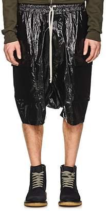 Rick Owens Men's Coated Cotton Drop-Rise Cargo Shorts
