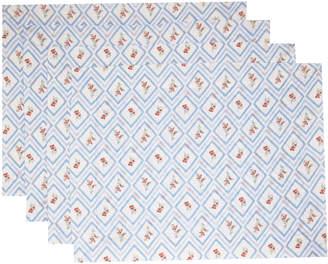 Emilia Wickstead Set-Of-Four Blue Diamond Printed Linen Placemat Set