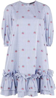 Alexander McQueen striped shift dress with floral embroidery