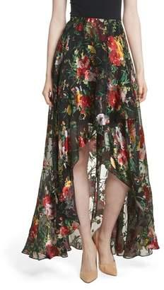 Alice + Olivia Floral Faux Wrap Maxi Skirt