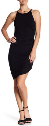 Soprano Ruched Asymmetrical Sleeveless Jersey Dress