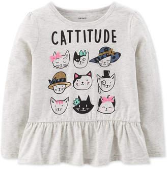 Carter's Carter Baby Girls Cattitude-Print Cotton T-Shirt