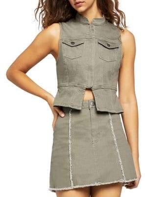BCBGeneration Split-Front Denim Vest