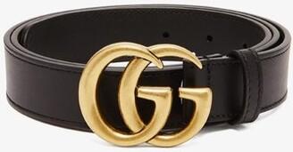 Gucci Gg Leather Belt - Mens - Black