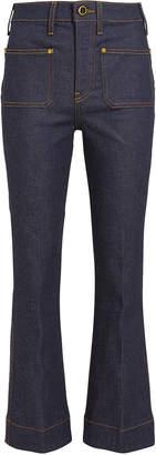 KHAITE Raquel Cropped Kick Flare Jeans