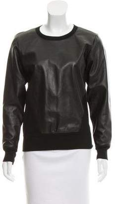 Helmut Lang Leather-Accented Scoop Neck Sweater