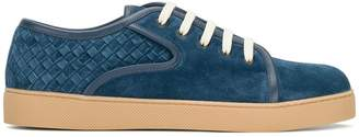 Bottega Veneta denim blue Intrecciato suede dodger sneaker