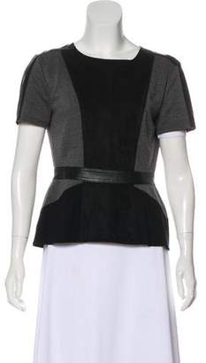 BCBGMAXAZRIA Colorblock Short Sleeve Top