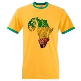 Bang Tidy Clothing Men's Africa Lion Of Judah Rasta Rastafari African Flag Ringer T Shirt M