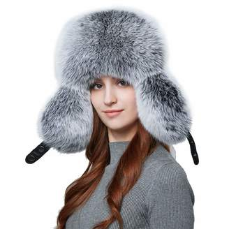 8f6b134634f BeFur Warm Women Winter Genuine Leather Hat Earflap Real Fox Fur Russian  Bomber Hats