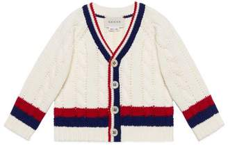 Gucci Baby cotton cardigan with Web