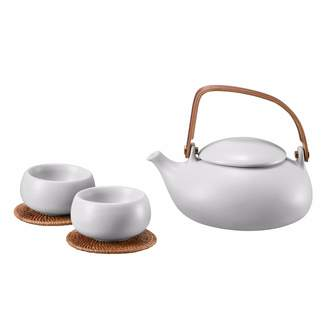 Zens Lifestyle - Ceramic Teapot With 2 Cups Light Grey
