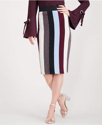 INC International Concepts I.n.c. Petite Colorblocked Lurex Pencil Skirt