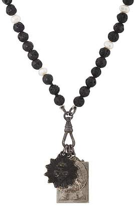 Miracle Icons Men's Vintage-Icon Lava Bead & Pearl Necklace - Black