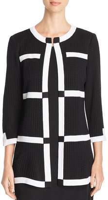 Misook Tipped Textured Knit Cardigan
