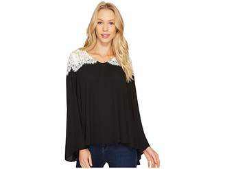 Karen Kane Lace Contrast Bell Sleeve Top Women's Clothing