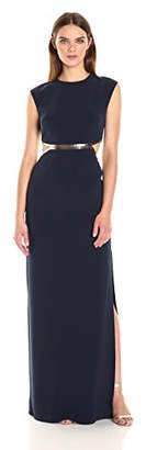 Halston Women's Cap Sleeve Round Neck Gown with Metallic Leather Detail