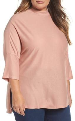 Melissa McCarthy Mock Neck Rib Knit Top (Plus Size)