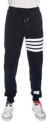 Thom Browne Drawstring Cotton Sweatpants with Leg-Stripe, Navy $590 thestylecure.com