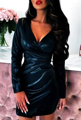 Pink Boutique Desirable Black Wrap PU Mini Dress