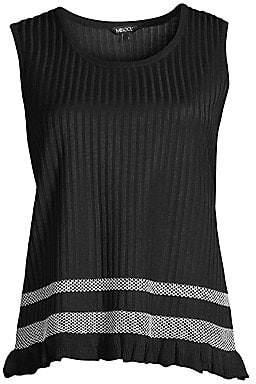 Misook Women's Mesh Stripe Ruffle Hem Tank Top