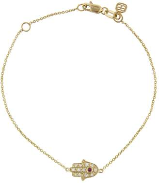 Sydney Evan Ruby and Diamond Mini Hamsa Bracelet - Yellow Gold