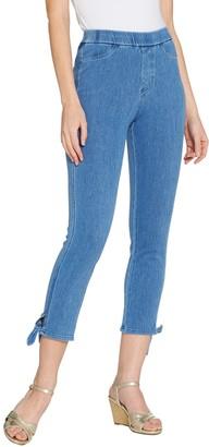 Isaac Mizrahi Live! Tall Knit Denim Crop Jeans with Tie Detail