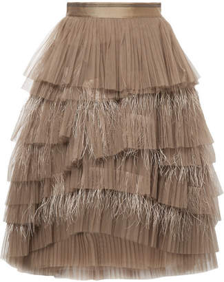 Brunello Cucinelli Tiered Tulle And Feather Skirt - Brown