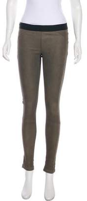 Theory Leather Paneled Low-Rise Leggings