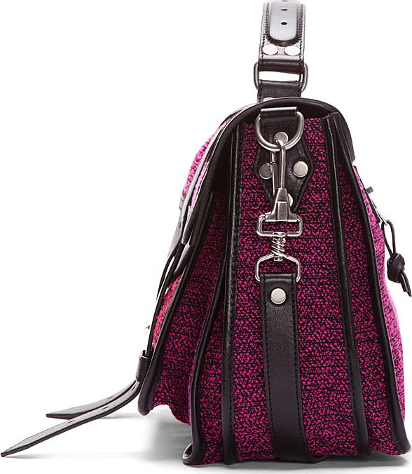 Proenza Schouler Medium Berry Pink Tweed Leather-Trimmed PS1 Messenger Bag
