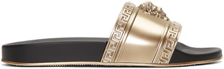 Versace Gold Medusa Slide Sandals $395 thestylecure.com