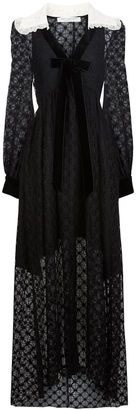 Philosophy Di Lorenzo Serafini Black Diamond Lace Collared Gown