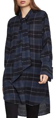 BCBGMAXAZRIA Tie-Neck Plaid Tunic
