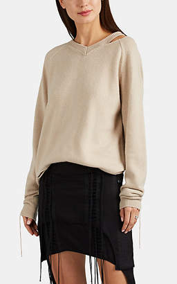 Helmut Lang Women's Distressed Cotton-Blend V-Neck Sweater - Neutral