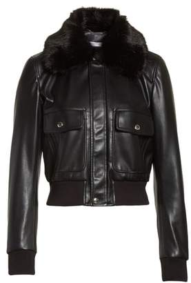 Givenchy Faux Leather Jacket with Faux Fur Collar