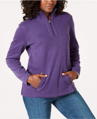 Karen Scott Petite Half-Zip Pullover Top