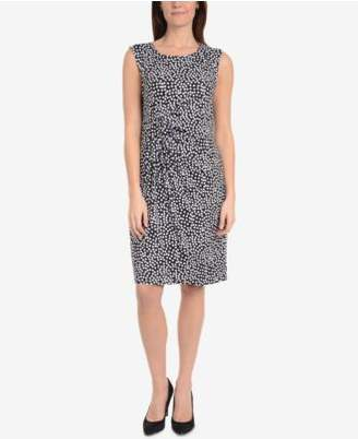 NY Collection Printed Side-Gathered Dress
