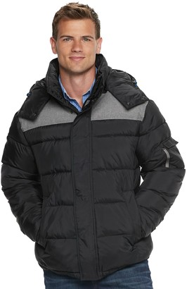 Izod Men's Quilted Hooded Puffer Jacket