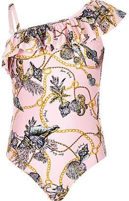 River Island Girls pink shell print frill swimsuit