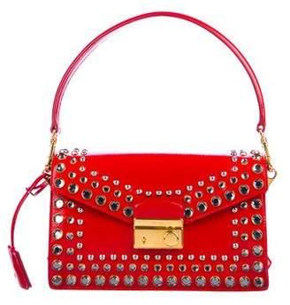 Prada Saffiano Vernice Embellished Sound Bag