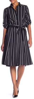 Max Studio Stripe Tie-Waist Shirt Dress