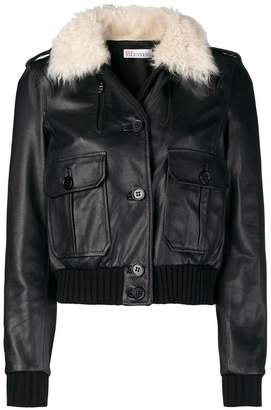 RED Valentino fur collar bomber jacket