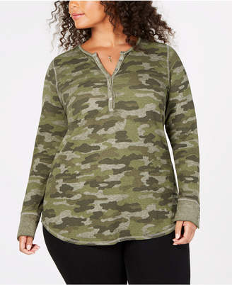 Lucky Brand Trendy Plus Size Camo-Print Thermal Top