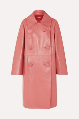 Miu Miu Double-breasted Leather Coat - Pink