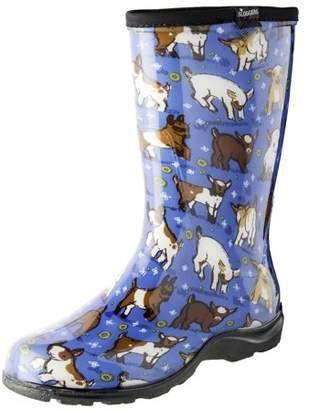 Sloggers 5018GOBL08 Size 8 Women's Goats Sky Blue Rain & Garden Boots