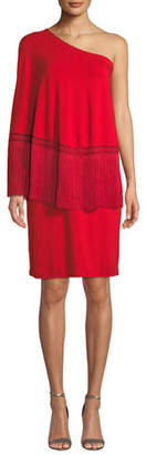 Trina Turk Eastside 1-Shoulder Popover Fringe Dress