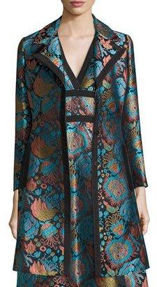 Etro Floral Brocade A-Line Coat, Blue/Black/Turquoise $3,095 thestylecure.com
