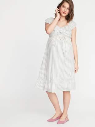 Old Navy Maternity Waist-Defined Tie-Belt Ruffled Dress