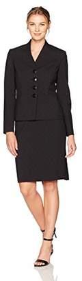 Le Suit Women's Jacquard 4 Button Skirt Suit