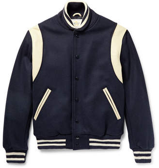 GoldenBear Golden Bear Leather-Panelled Virgin Wool-Blend Bomber Jacket